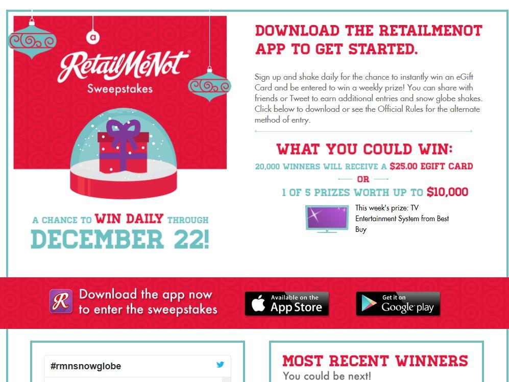 RetailMeNot Snow Me The Money Sweepstakes