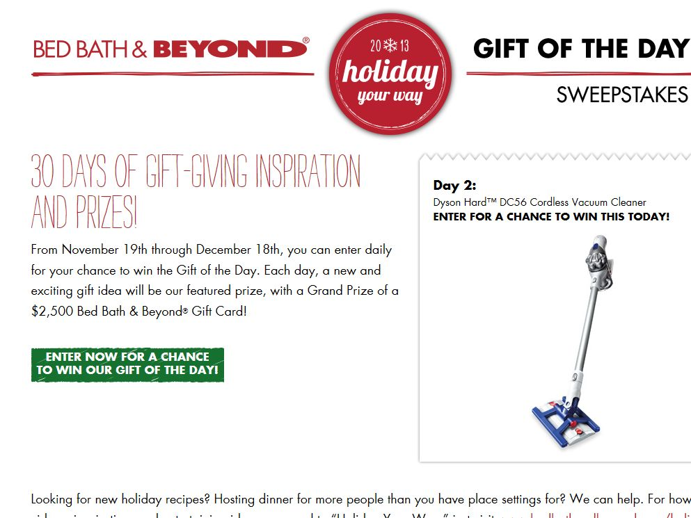 Bed Bath & Beyond Gift of the Day Sweepstakes