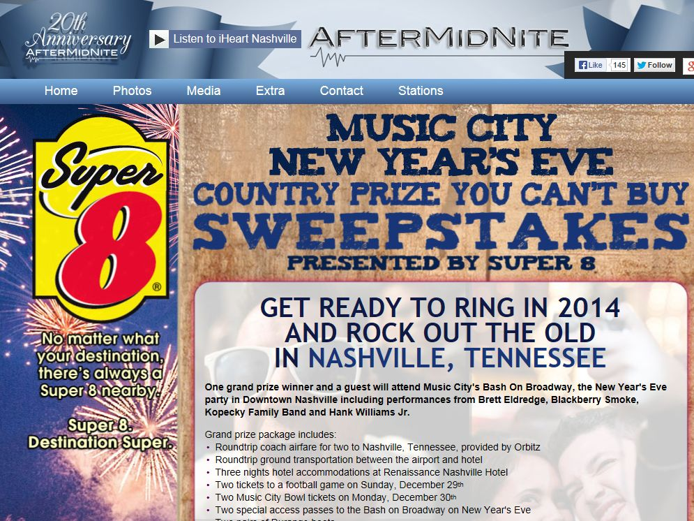 Music City New Year's Eve Country Prize You Can't Buy Sweepstakes