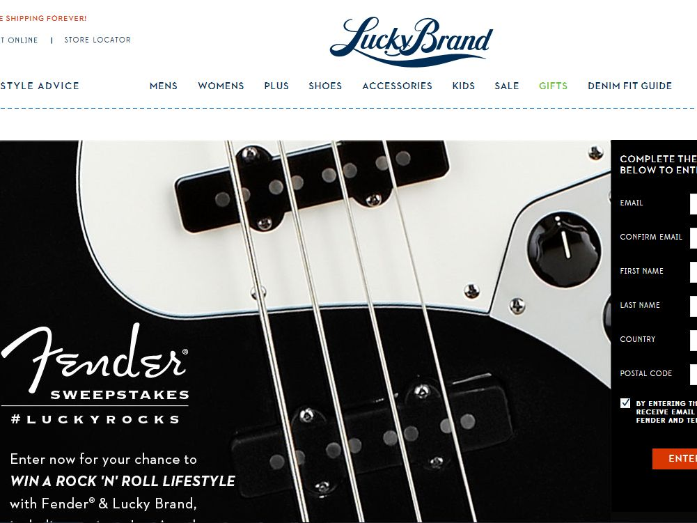 Lucky Fender Guitar Sweepstakes