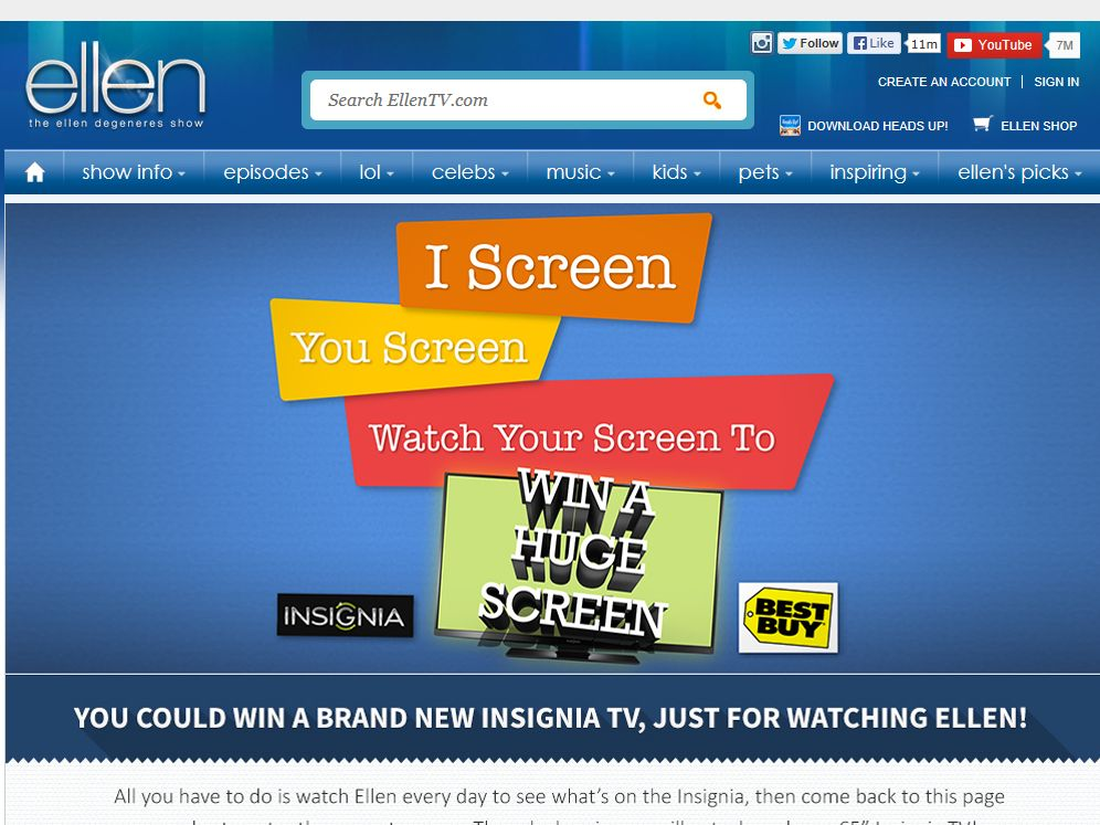"Ellen ""I Screen, You Screen, Watch Your Screen to Win a Huge Screen"" Giveaway"