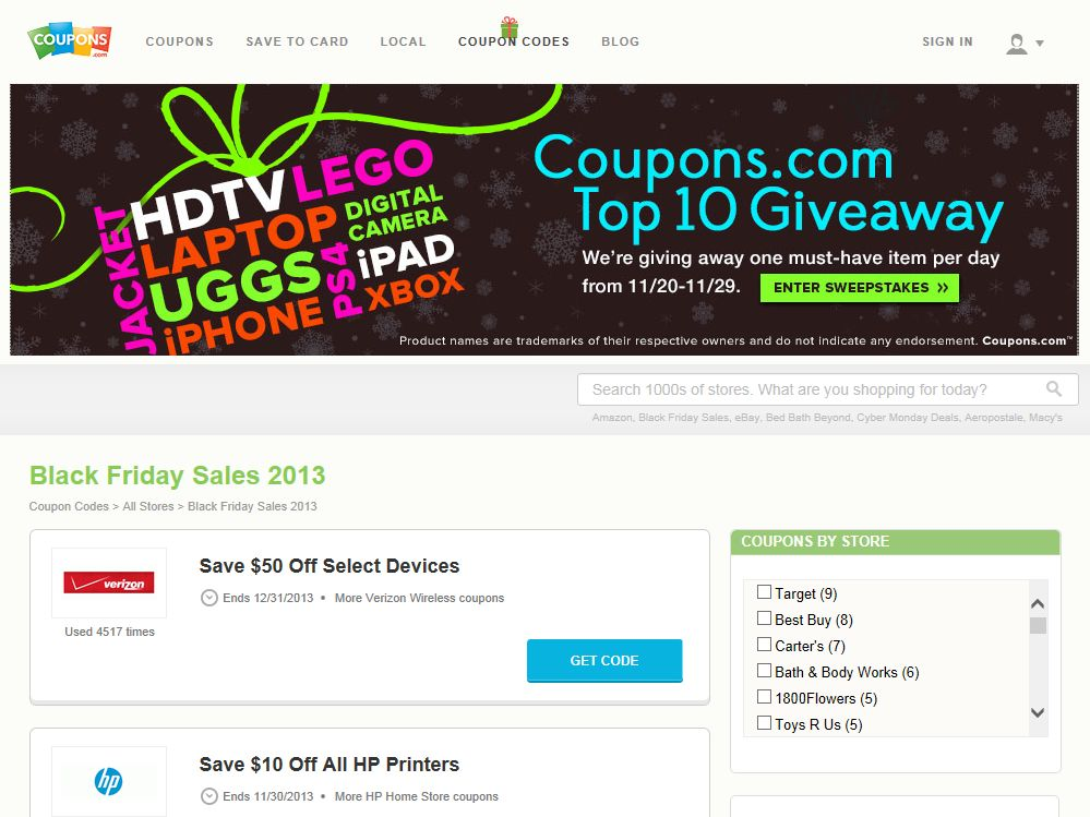 Coupons.com 2013 Black Friday Sweepstakes