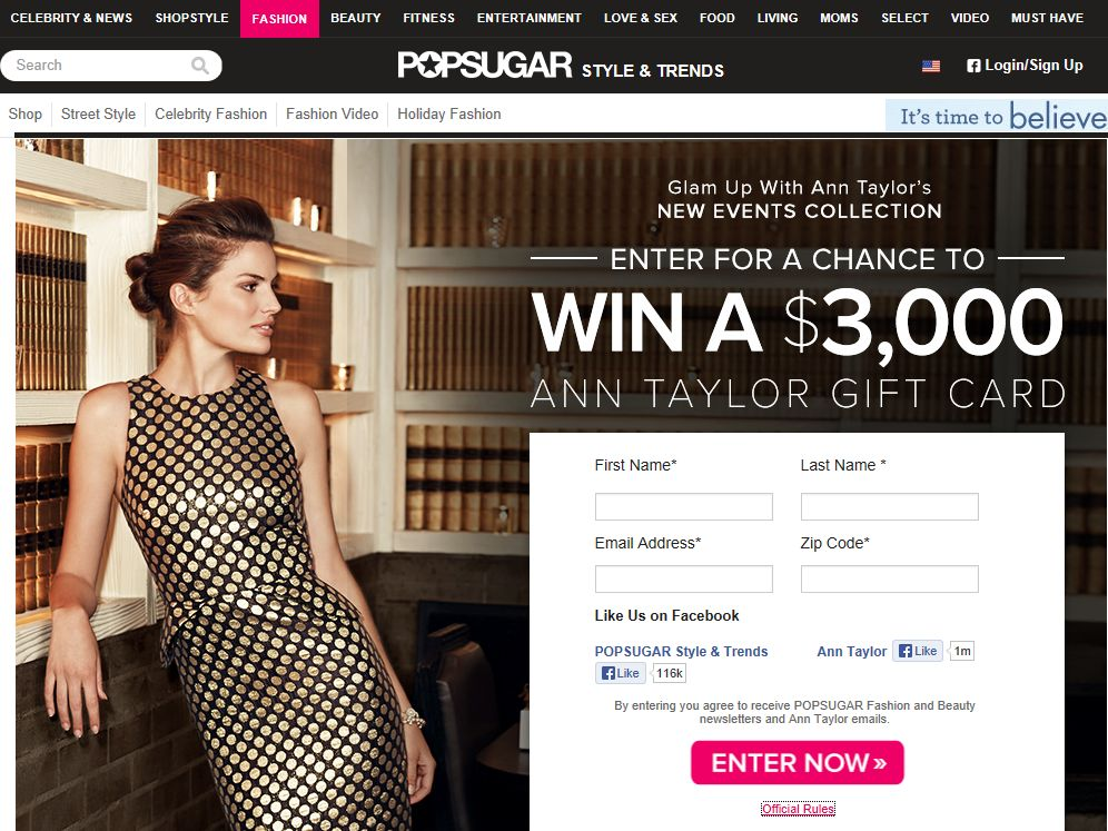 POPSUGAR and Ann Taylor Ultimate Event Collection Shopping Spree Sweepstakes