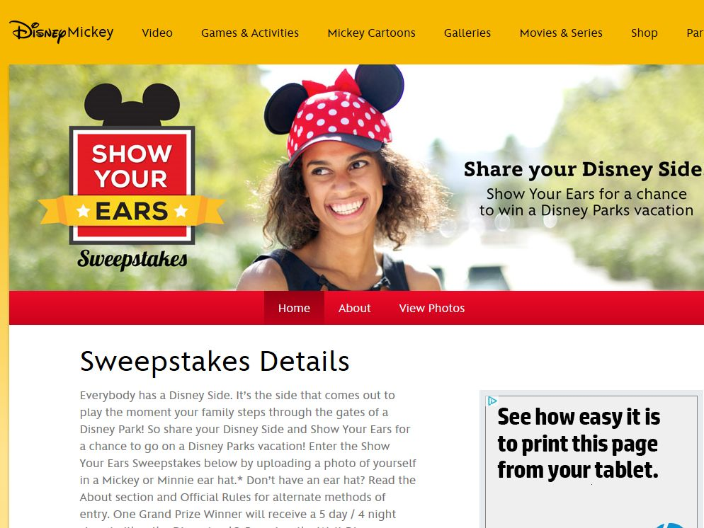 Disney Show Your Ears Sweepstakes