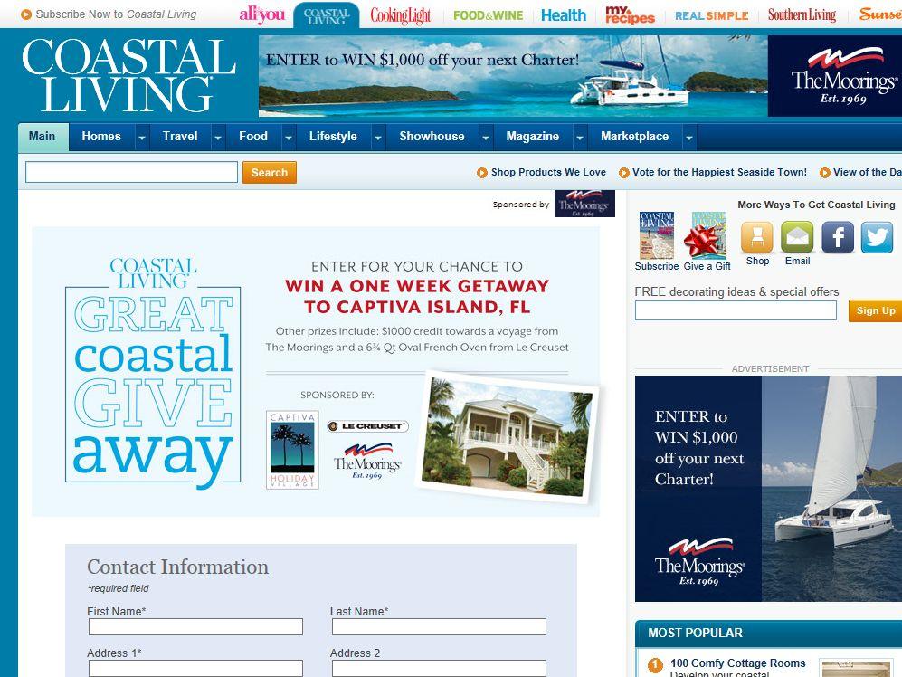 Coastal Living Great Coastal Giveaway Sweepstakes