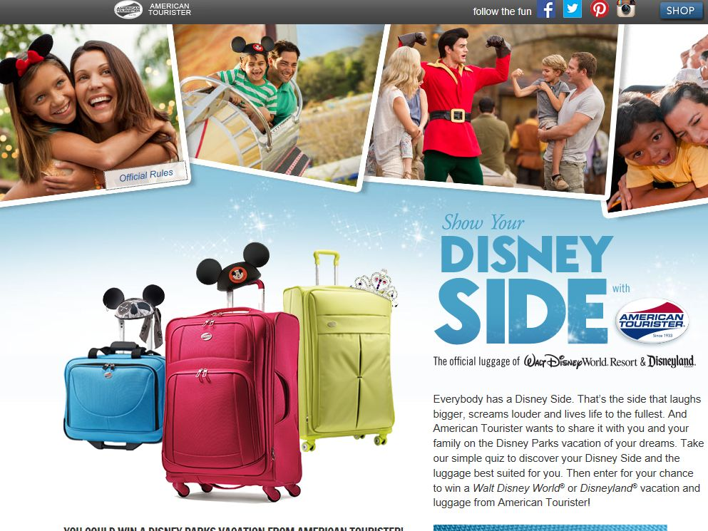 Disney Side American Tourister Sweepstakes