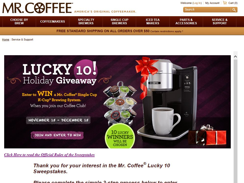 "Mr. Coffee Brand ""Lucky 10 Holiday Giveaway"" Sweepstakes"