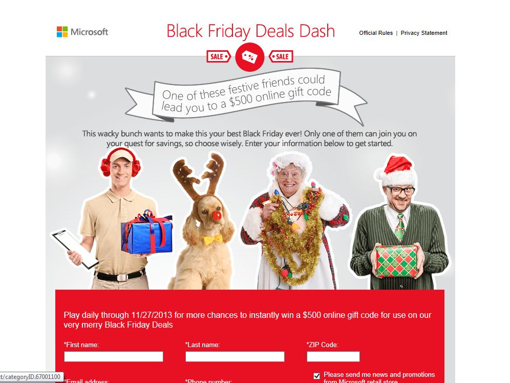 Microsoft Black Friday Deals Dash Instant Win Game