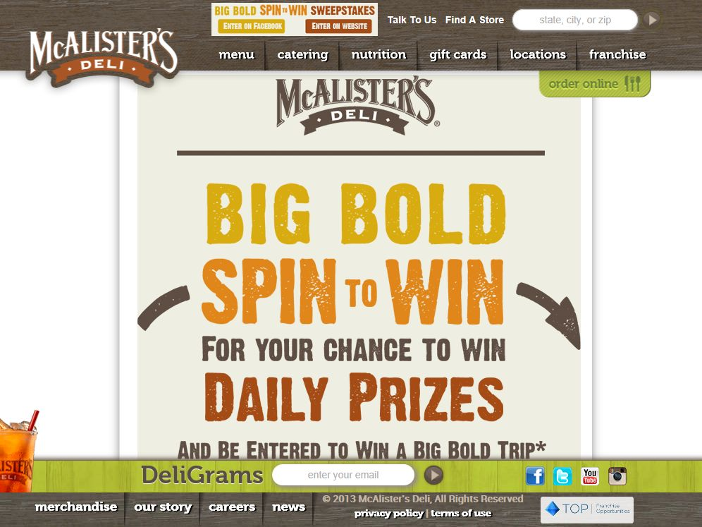 McAlister's Big Bold Spin to Win Sweepstakes