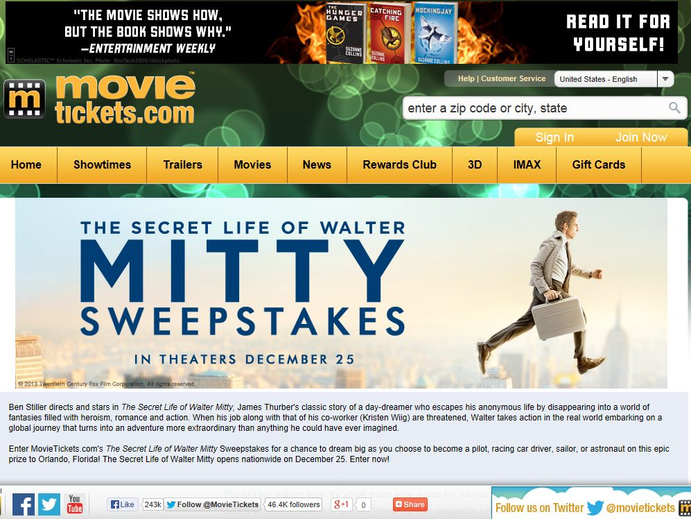 MovieTickets.com The Secret Life of Walter Mitty Sweepstakes