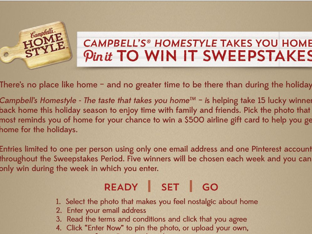 """Campbell's Homestyle Soup Takes You Home """"Pin It to Win It"""" Sweepstakes"""
