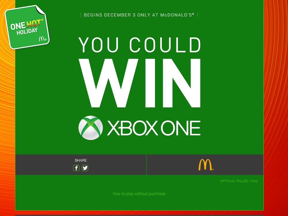 McDonald's One Hot Holiday Instant Win Game