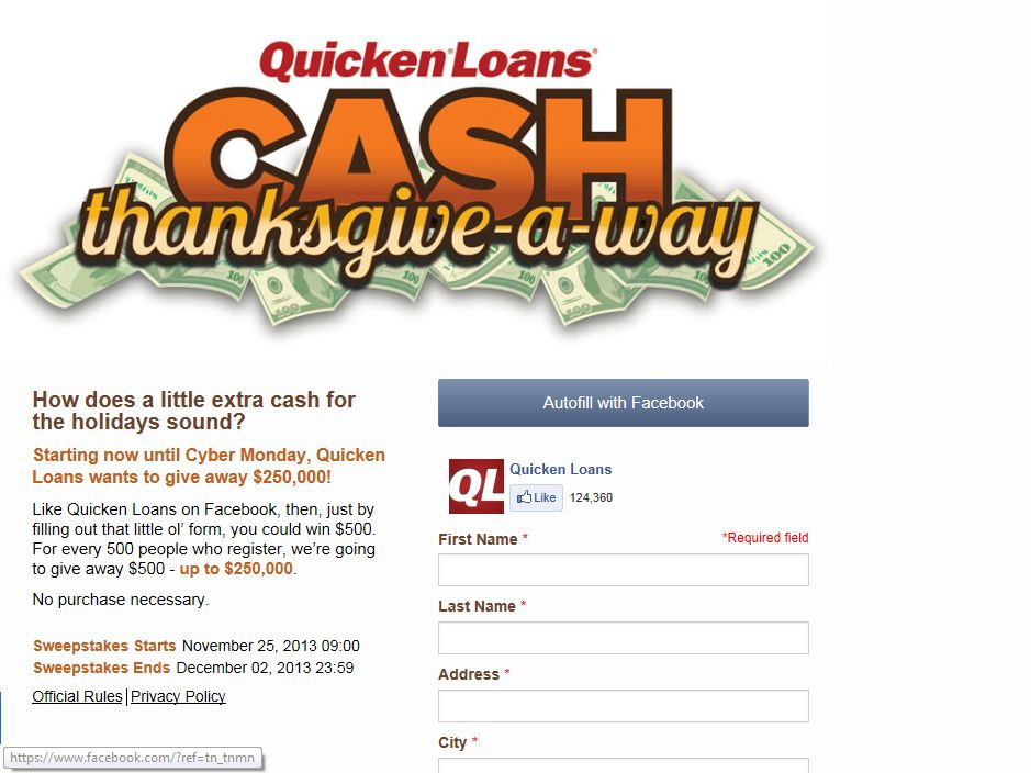 Quicken Loans CASH THANKSGIVE-A-WAY Sweepstakes