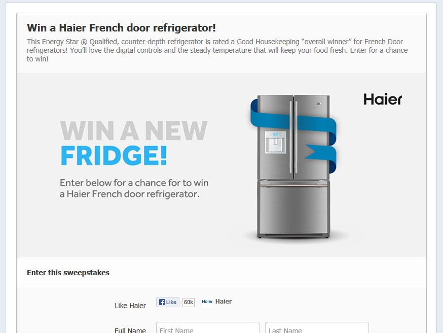 Haier French Door Refrigerator Sweepstakes