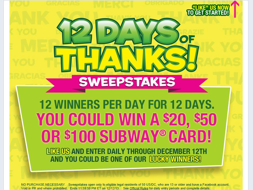 "SUBWAY ""12 Days of Thanks!"" Sweepstakes"