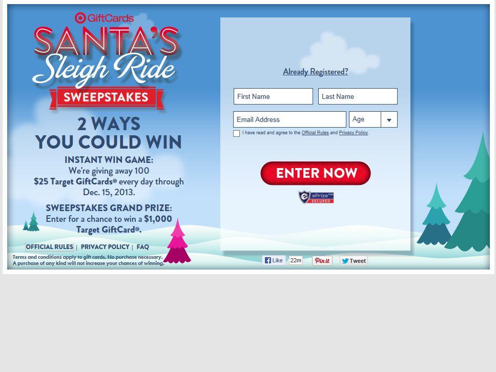 Target's Santa's Sleigh Ride Sweepstakes