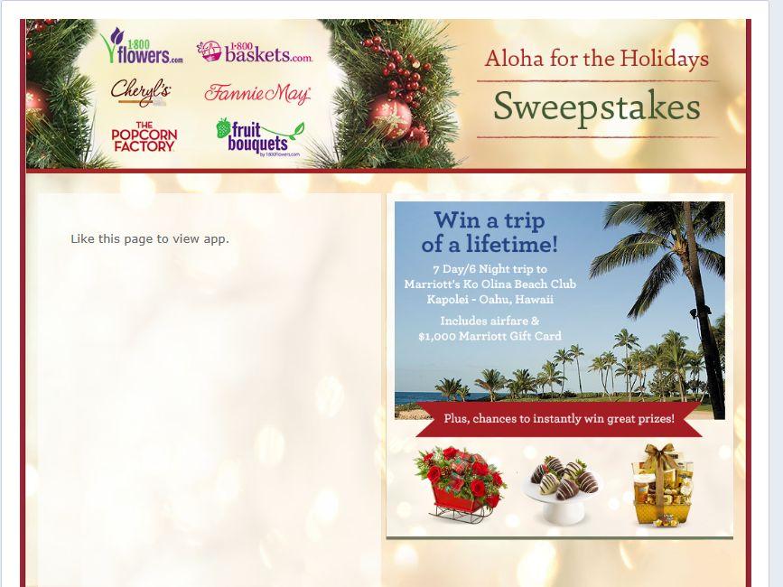 1-800-Flowers Aloha For The Holidays Sweepstakes