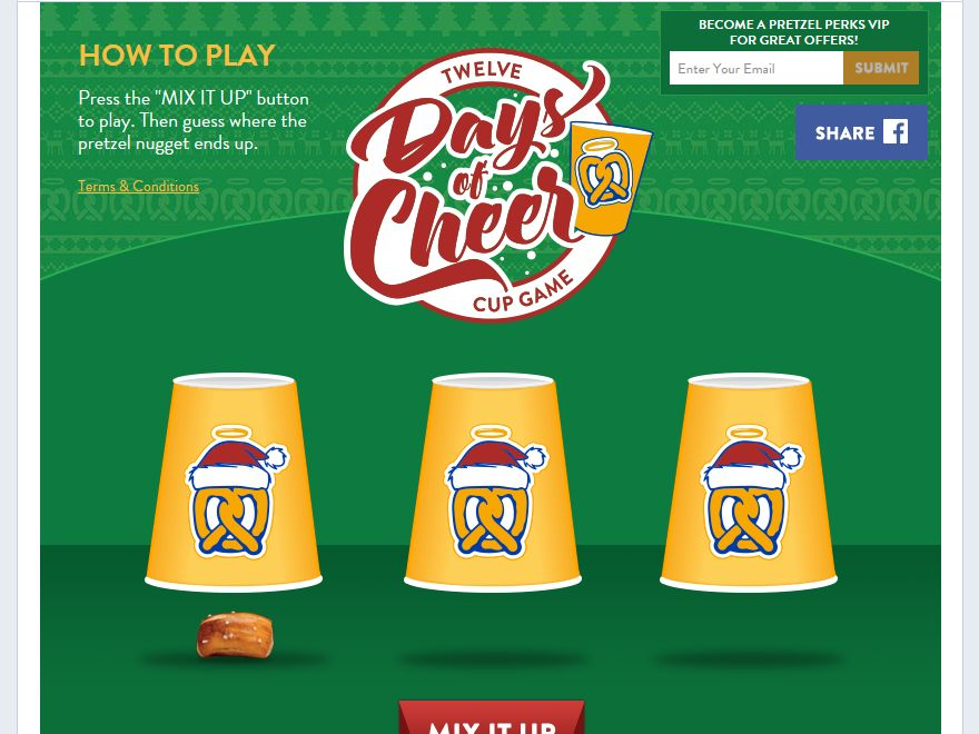 Auntie Anne's 12 Days of Cheer Sweepstakes