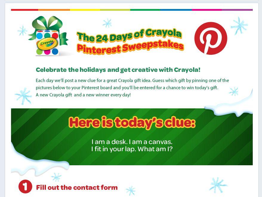 """Crayola """"24 Days of Crayola"""" Sweepstakes"""