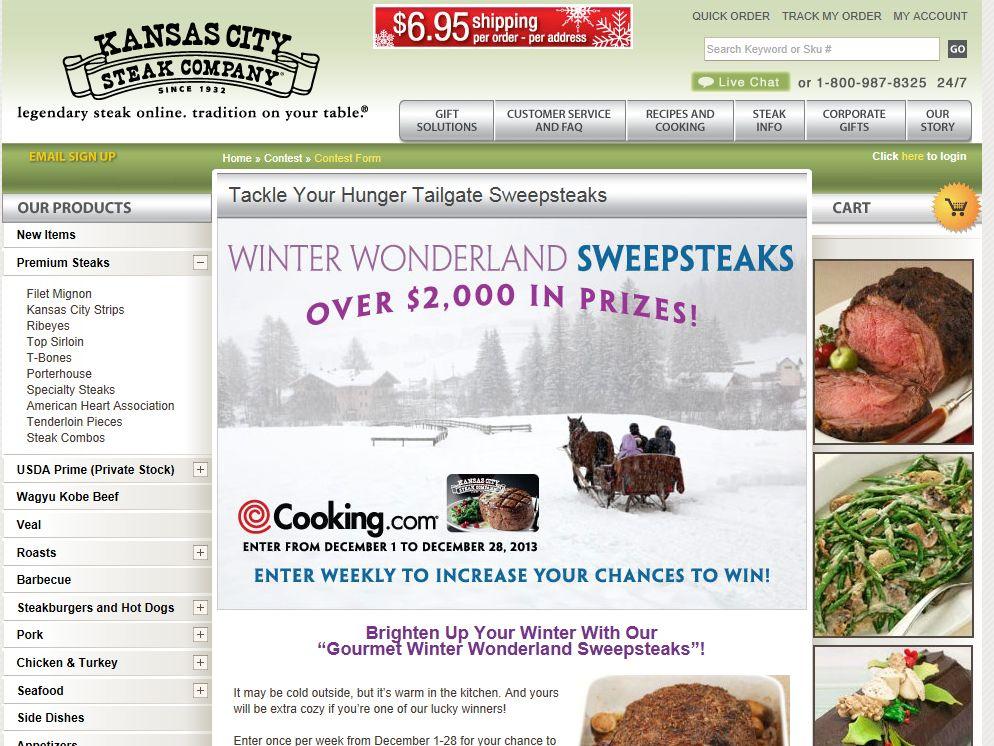 Kansas City Steak Company Gourmet Winter Wonderland Sweepstakes