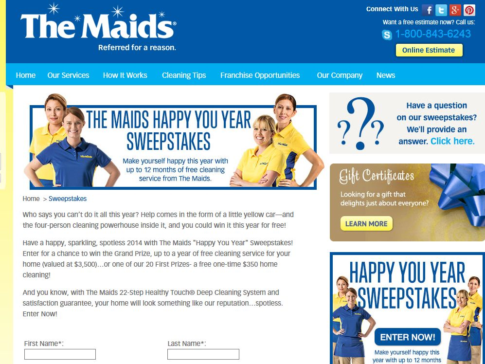 "The Maids ""Happy You Year"" Sweepstakes"