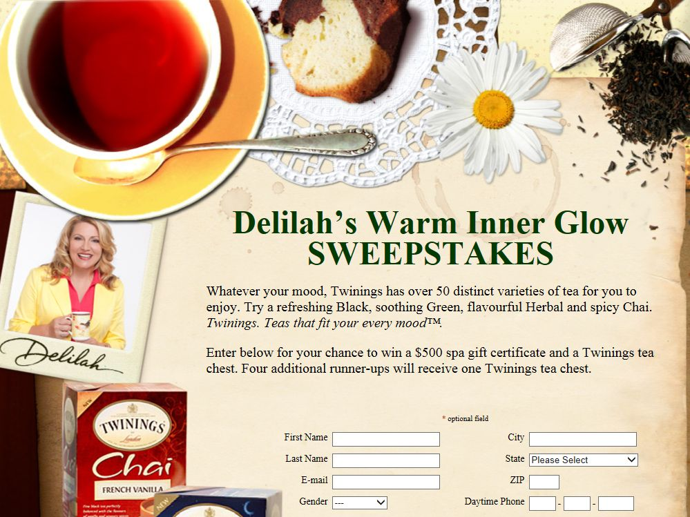 Delilah's Warm Inner Glow Sweepstakes