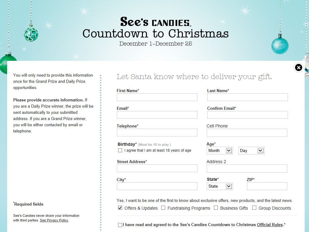 See's Candies Countdown to Christmas Sweepstakes