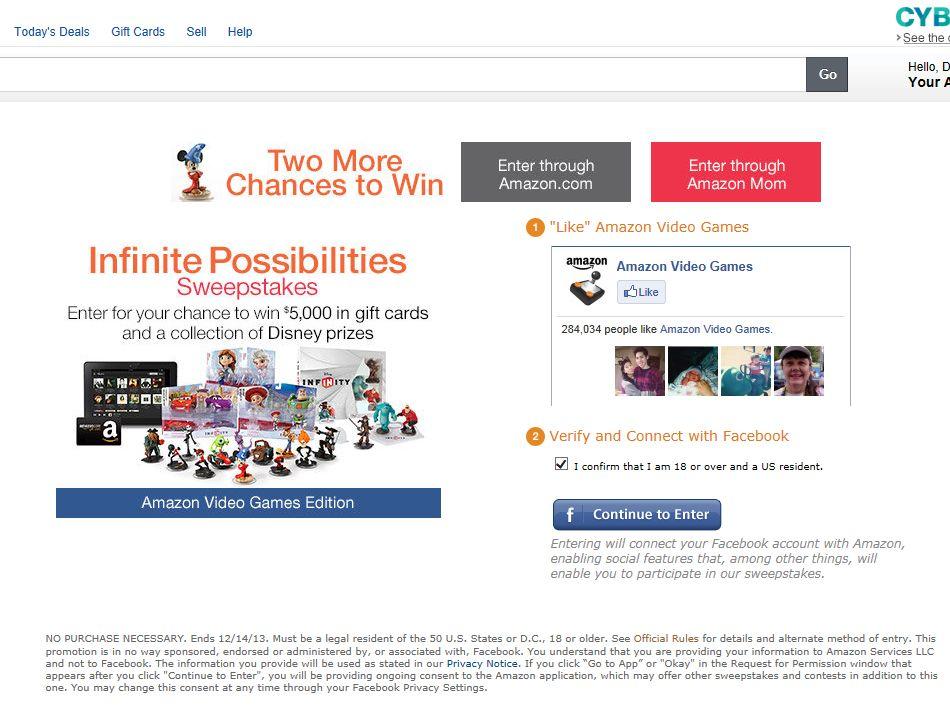 "Amazon.com ""Disney Infinite Possibilities"" Sweepstakes"