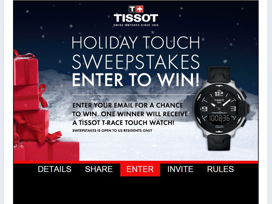 Tissot 2013 Holiday Facebook Sweepstakes
