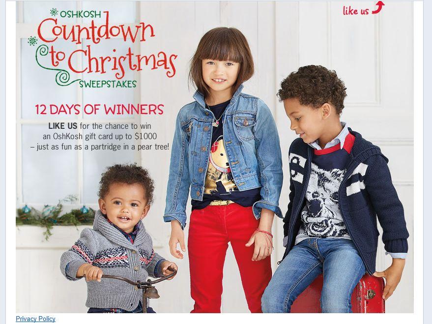 OshKosh B'gosh Countdown to Christmas Sweepstakes