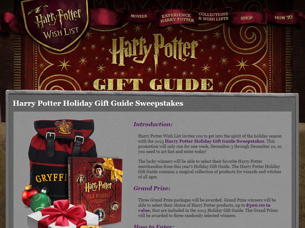 Harry Potter Holiday Gift Guide Sweepstakes