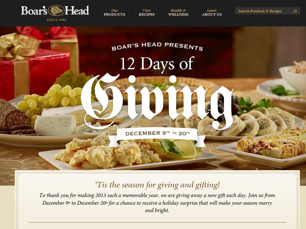 "Boar's Head ""12 Day of Giving"" Sweepstakes"