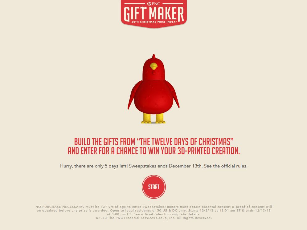 PNC Christmas Price Index Gift Maker Sweepstakes