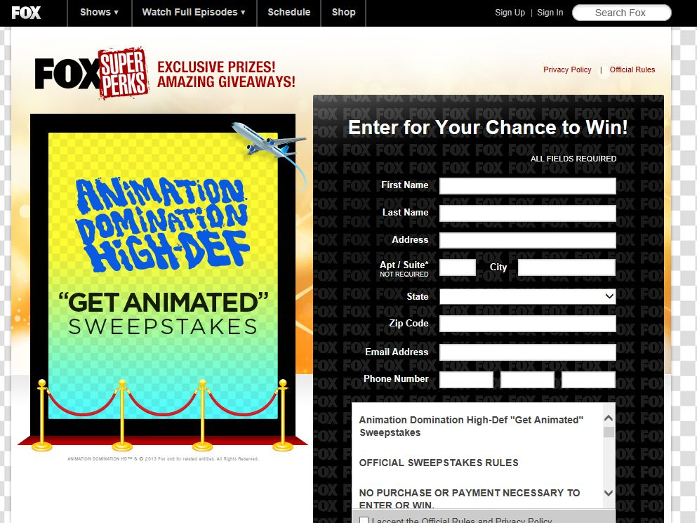 "Animation Domination High-Def ""Get Animated"" Sweepstakes"