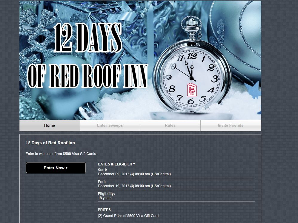 Red Roof Inn 12 Days of Red Roof Inn Sweepstakes