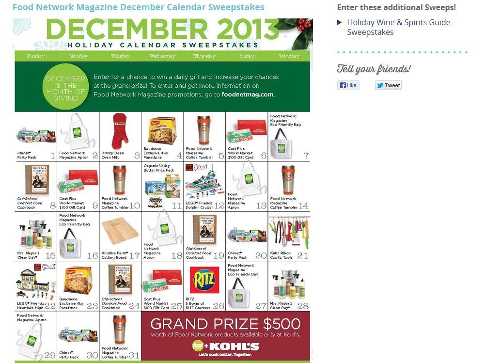 Food Network Magazine Holiday Calendar Sweepstakes