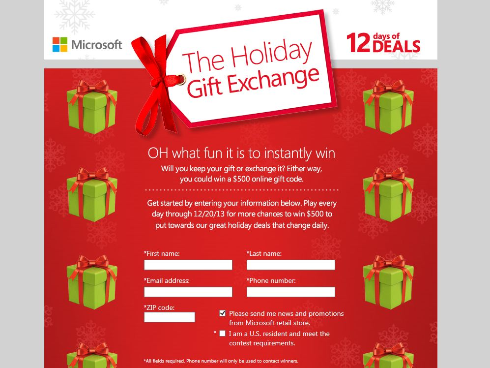 Microsoft Holiday Gift Exchange Instant Win Game