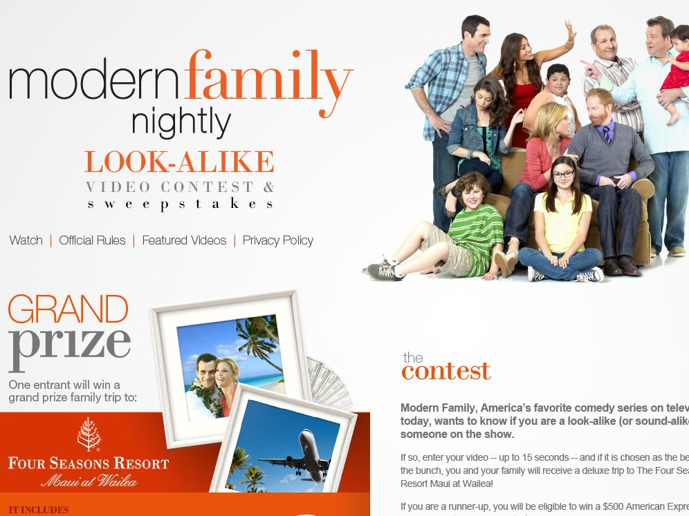 Modern Family Look-alike Video Contest and Sweepstakes – Limited Cities