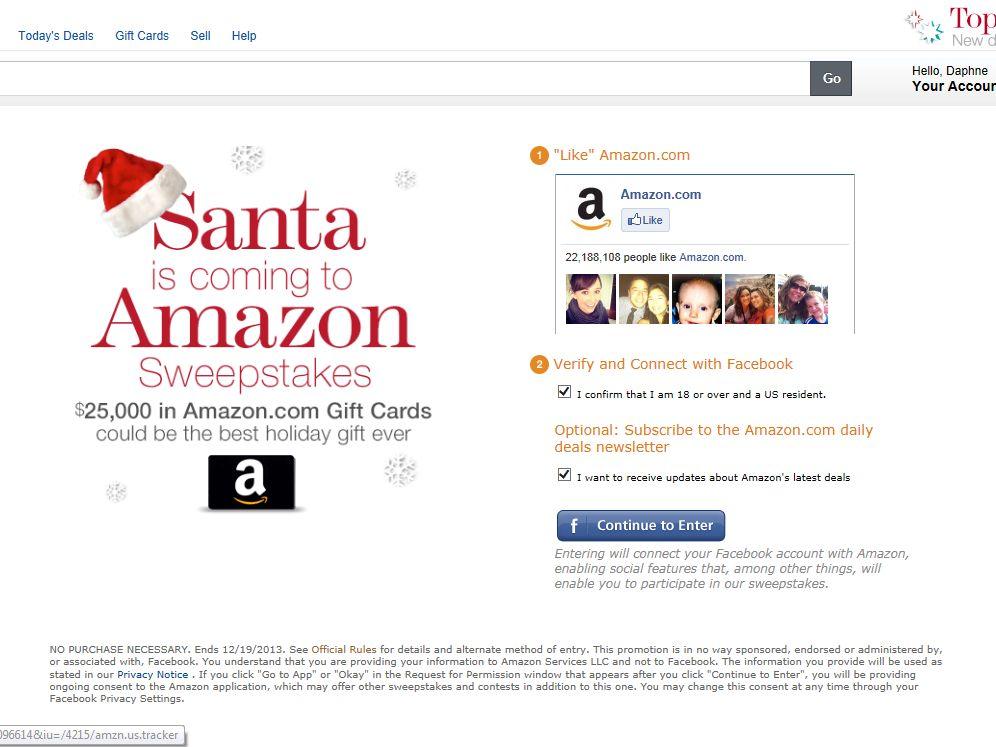 Santa is Coming to Amazon $25,000 Sweepstakes