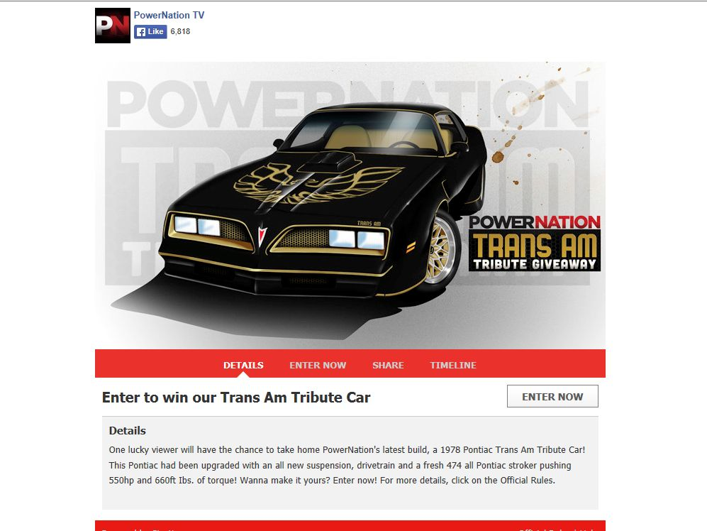 PowerNation Trans Am Tribute Giveaway