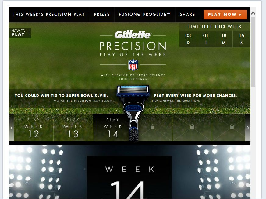 Gillette Precision Play of the Week Sweepstakes