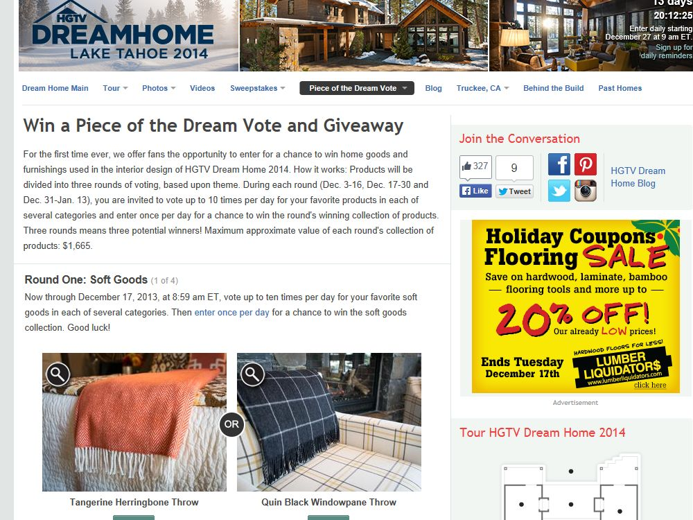 HGTV Win a Piece of the Dream Vote and Giveaway