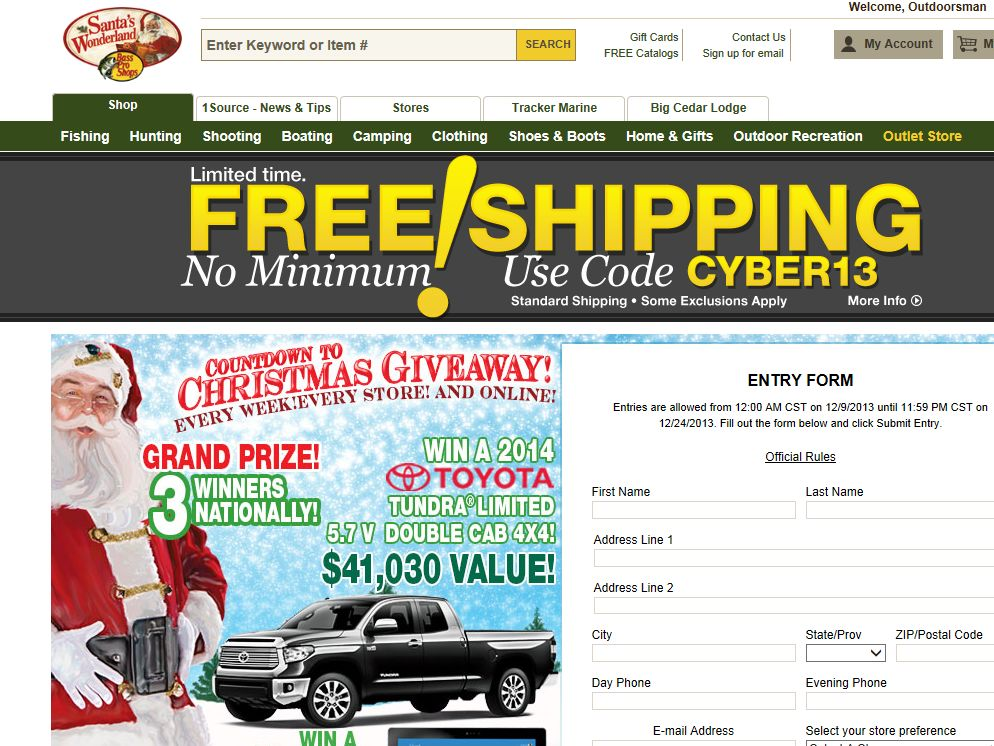 Bass Pro Shops Countdown to Christmas 2013 Sweepstakes