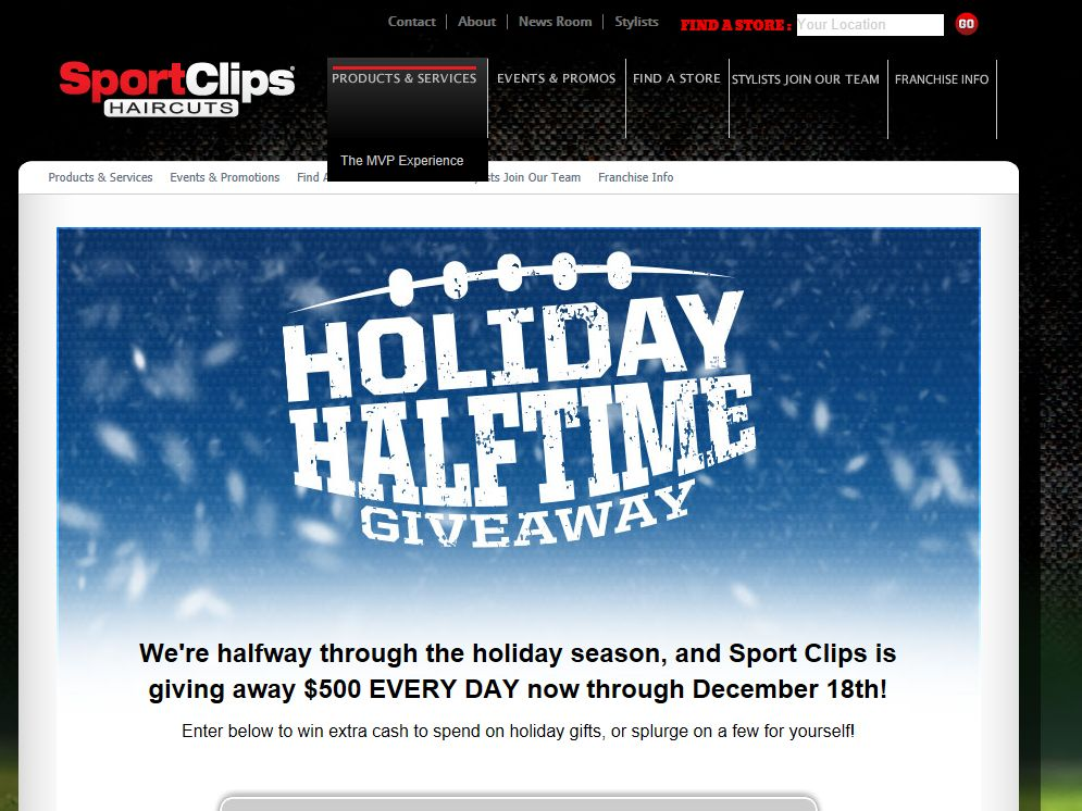 "Sport Clips ""Holiday Halftime"" Sweepstakes"