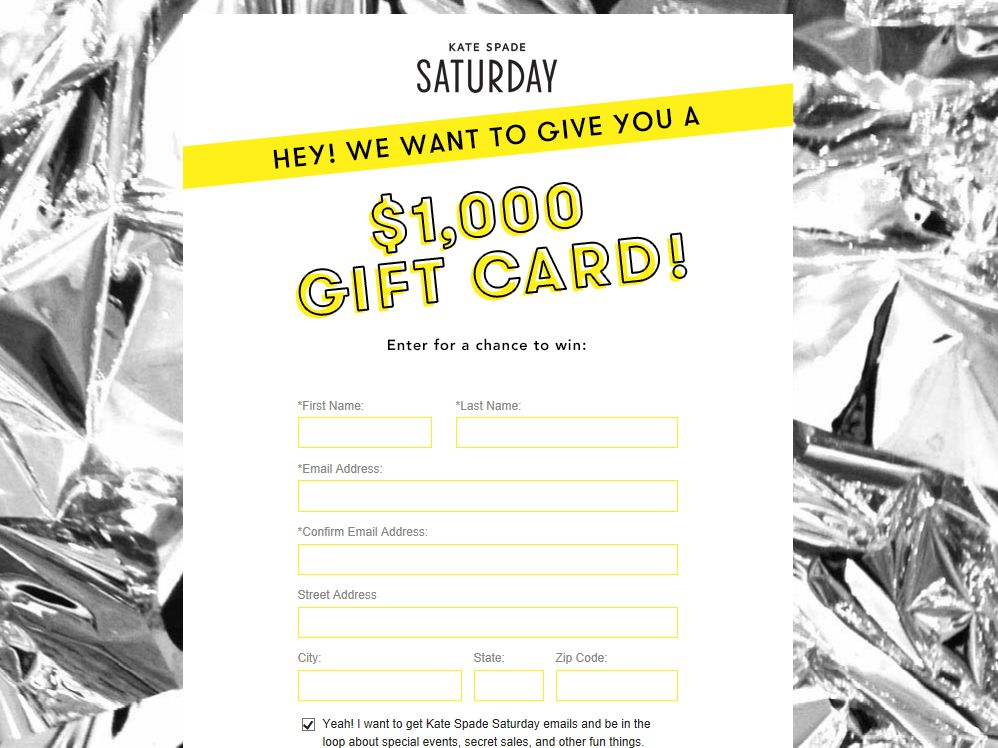 Kate Spade Saturday Sweepstakes