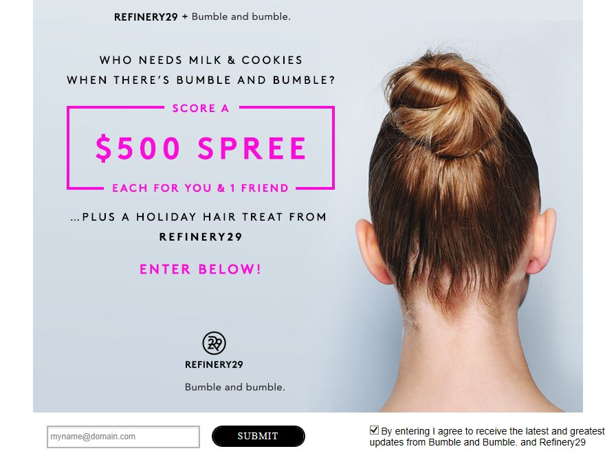 Refinery 29 and Bumble & Bumble Shopping Spree Sweepstakes