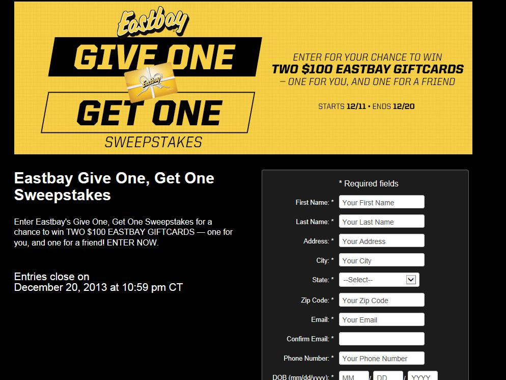"""""""Eastbay Give 1, Get 1"""" Sweepstakes"""