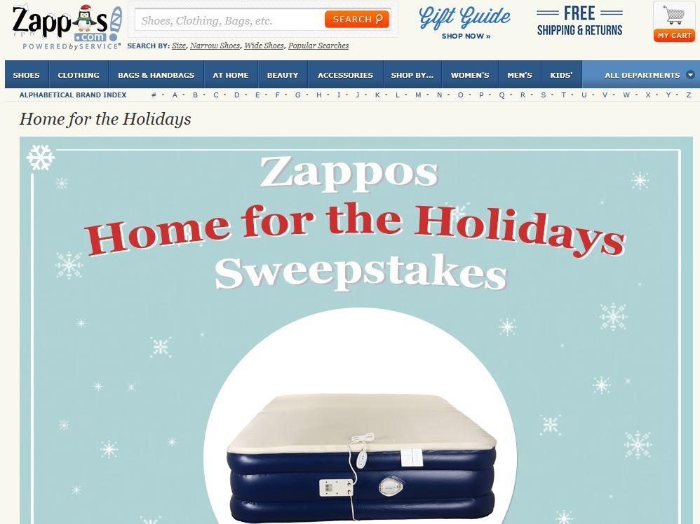 Zappos Home for the Holidays Sweepstakes