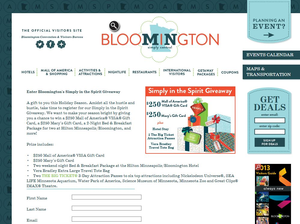 Bloomington Convention & Visitors Bureau's Simply in the Spirit Giveaway