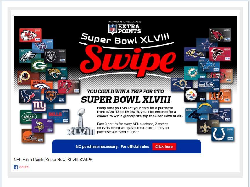 NFL Extra Points Super Bowl XLVIII SWIPE Sweepstakes